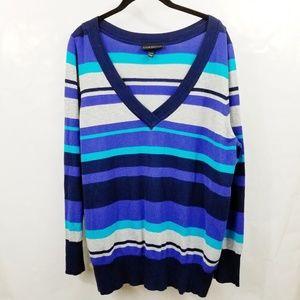 Lane Bryant Blue Striped V Neck Sweater D32
